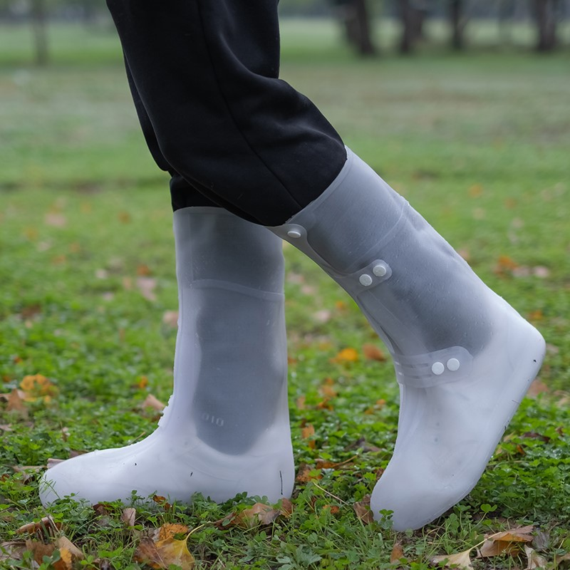 Rain shoe cover waterproof rainy day anti slip thickened wear-resistant sole silicone rain shoe high barrel waterproof shoe cover mens and womens rain boot cover