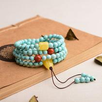 益嘉原矿绿松石圆珠108小米珠项链手链高瓷颈链手串无优化吊坠
