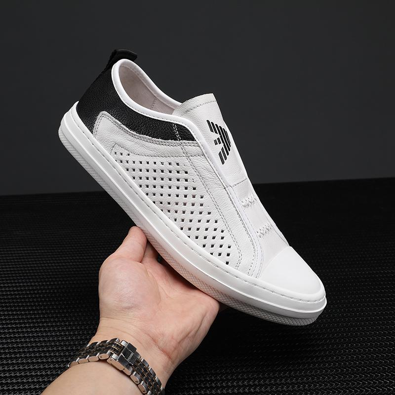 米兰阿玛尼网红新款小白鞋休闲男鞋真皮百搭透气板鞋男士韩版皮鞋图片