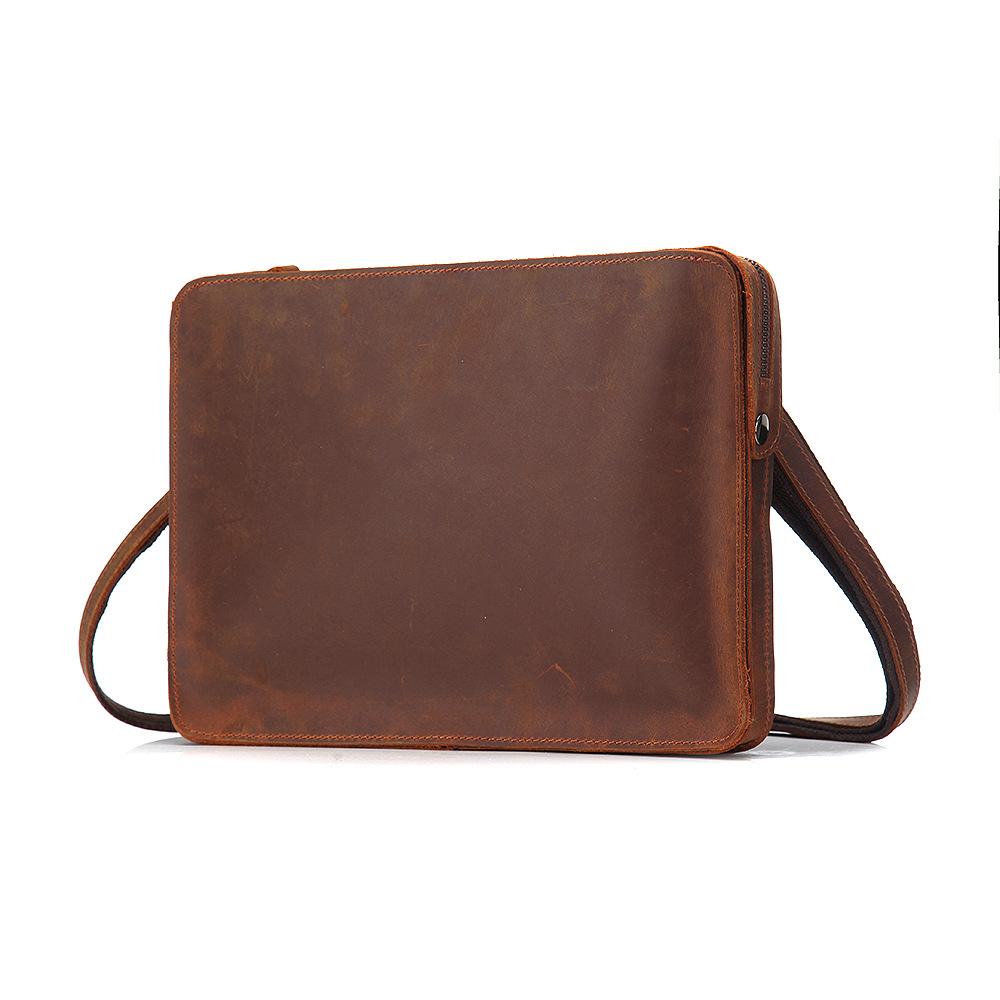 Retro style crazy horse skin handbag Single Shoulder Messenger Bag mens small bag
