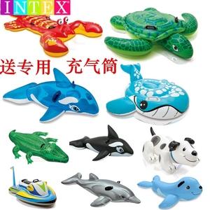 大型水上充气坐骑鲨鱼海豚儿童游泳圈鳄鱼鲸鱼乌龟游泳池戏水玩具