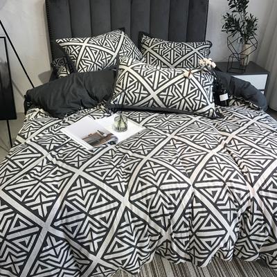 全棉北欧风四件套裸睡天竺棉针织提花纯棉双人被套床上用品4件套