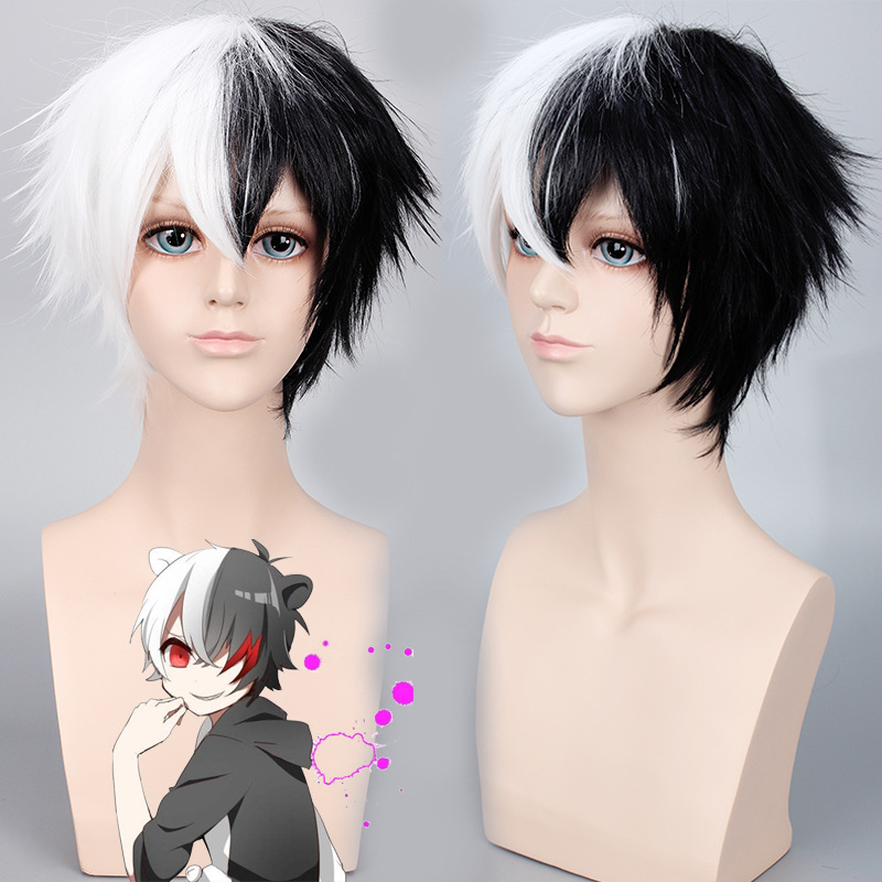 Cos wig ball on breaking two color gradient anti warping black and white bear role play animation hair package