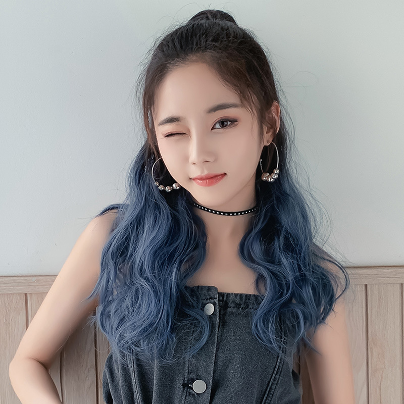 2019 fashion wig ponytail female curly hair gradient color long hair realistic fluffy clip braid M056 package