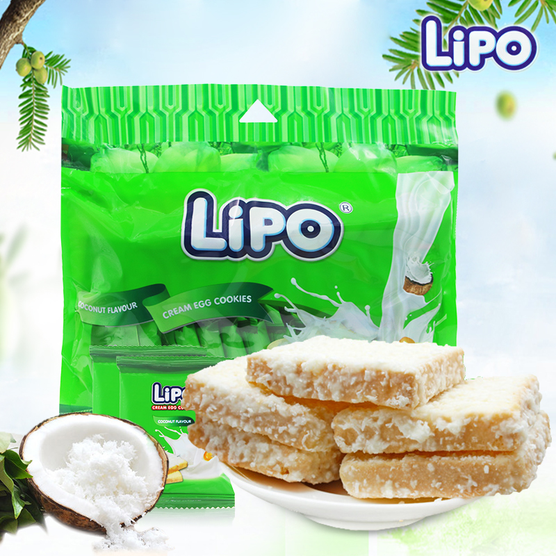 Lipo coconut flavored bread 300g snack biscuits leisure snacks imported from Vietnam
