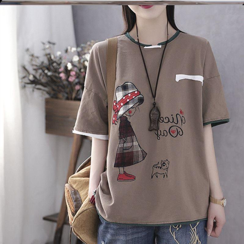 晶女装匠纯棉重工200斤可穿大码宽松名族风T恤依姿美服装