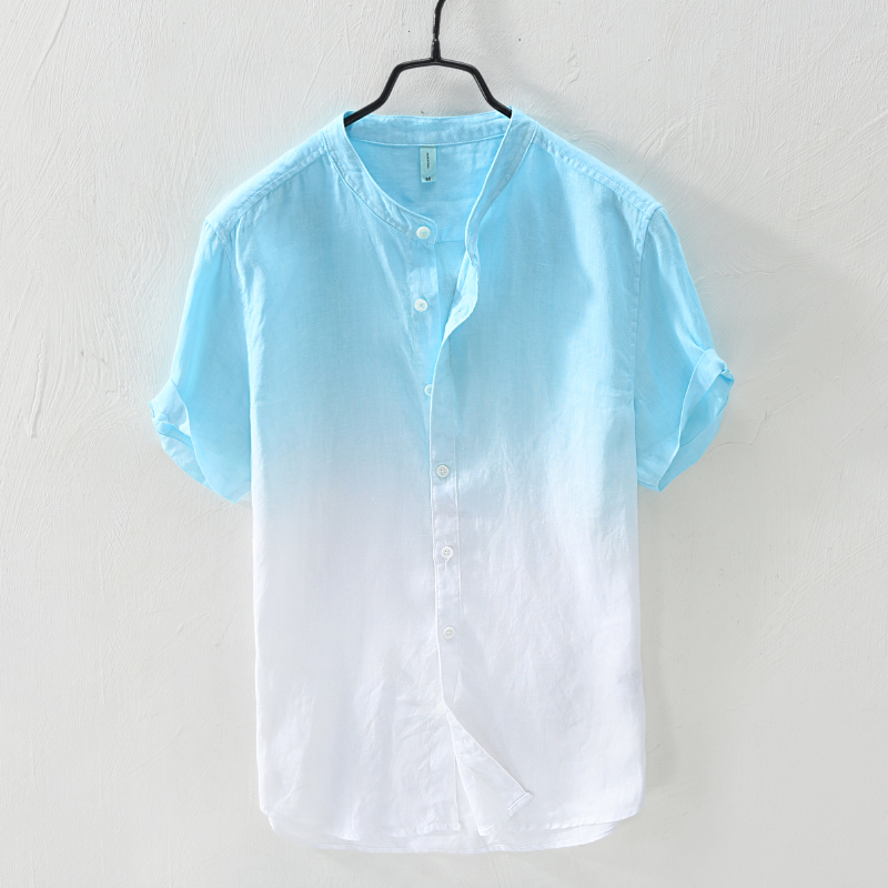 Small fresh and fresh tapered standing collar short sleeve Linen Shirt Mens summer leisure youth literature and art loose cotton and linen shirt