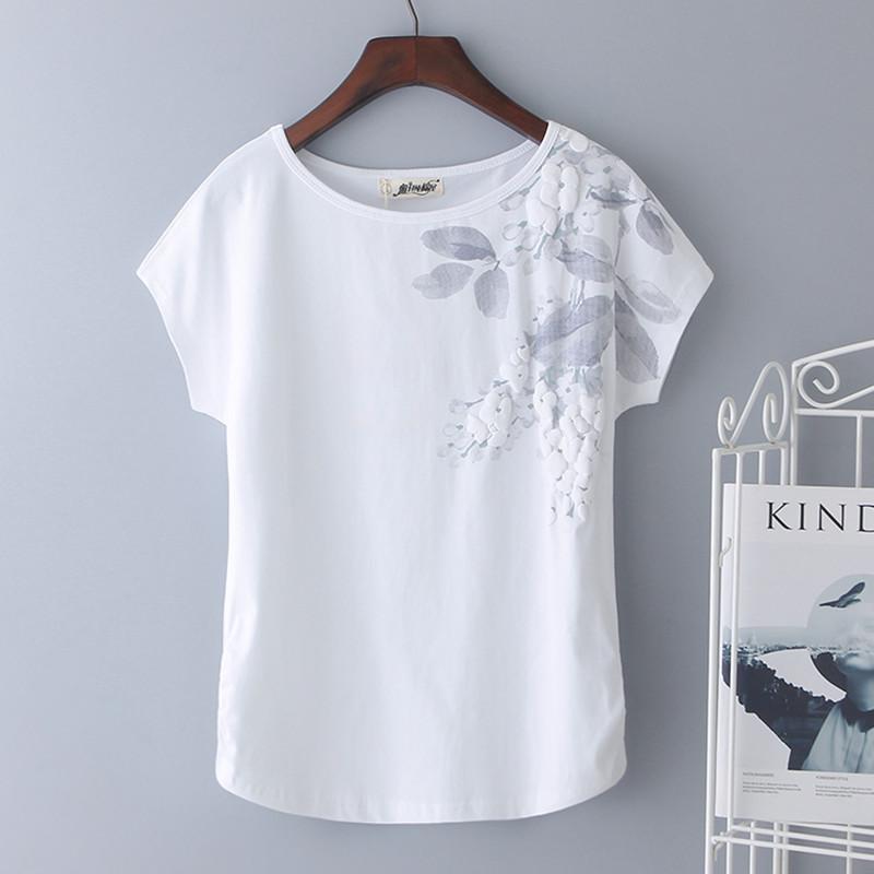 2018夏新款印花大码白色t恤女短袖纯棉宽松显瘦半袖体恤百搭潮