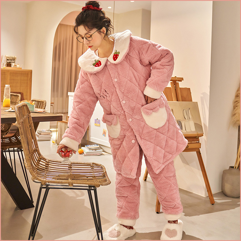 Pajamas womens winter coral fleece three layer thickened warm jacket cotton Plush flannel autumn and winter lovely home suit