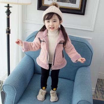 小女孩子加绒外穿外套2019潮拉链衫