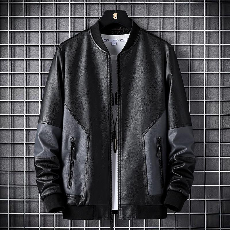 小心机撞色设计皮衣男春秋新款百搭外套中年运动休闲棒球领皮夹克
