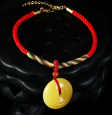 裙子姐姐推荐蜜蜡平安扣本命年红绳手链饰品可调节手绳送礼女2463