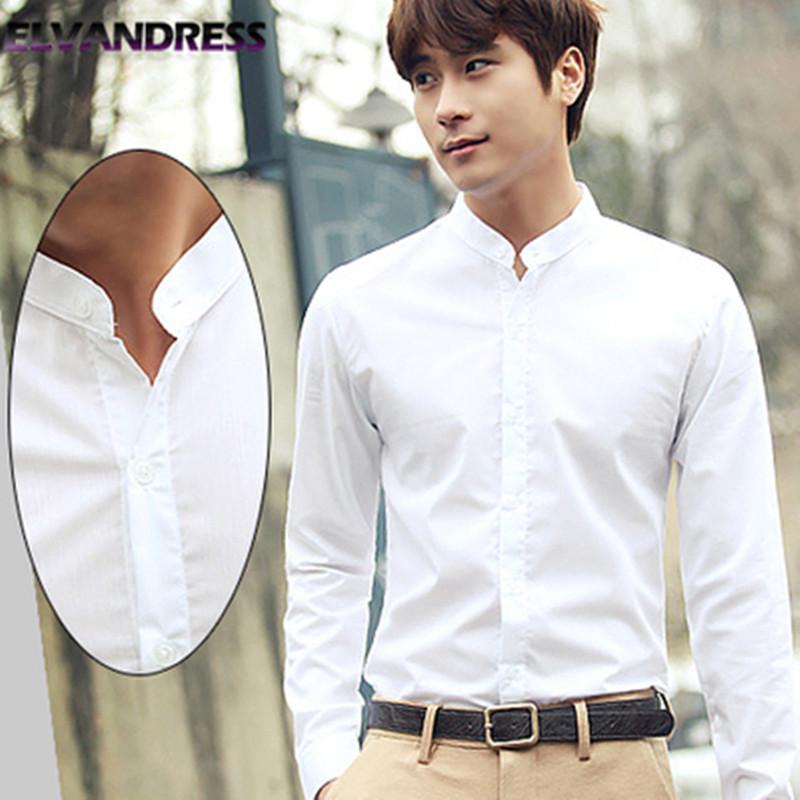 Autumn mens stand collar long sleeve white shirt Korean slim no iron round collar shirt youth Zhongshan small collar inch shirt