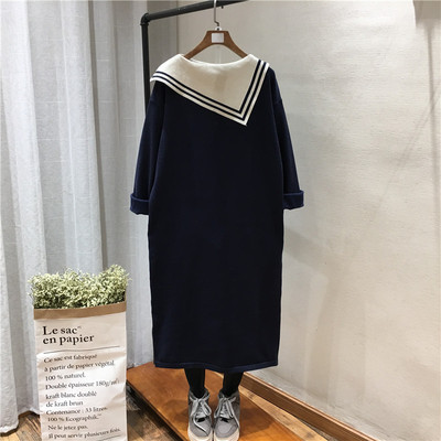 Navy style beveled side neckline super long over the knee color matching western style pullover sweater women 6653 dress