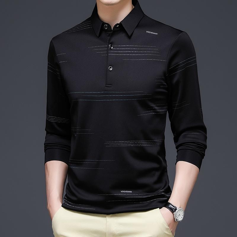93135/P40中青年男装长袖T恤爸爸装长袖POLO衫秋季新款商务汗衫