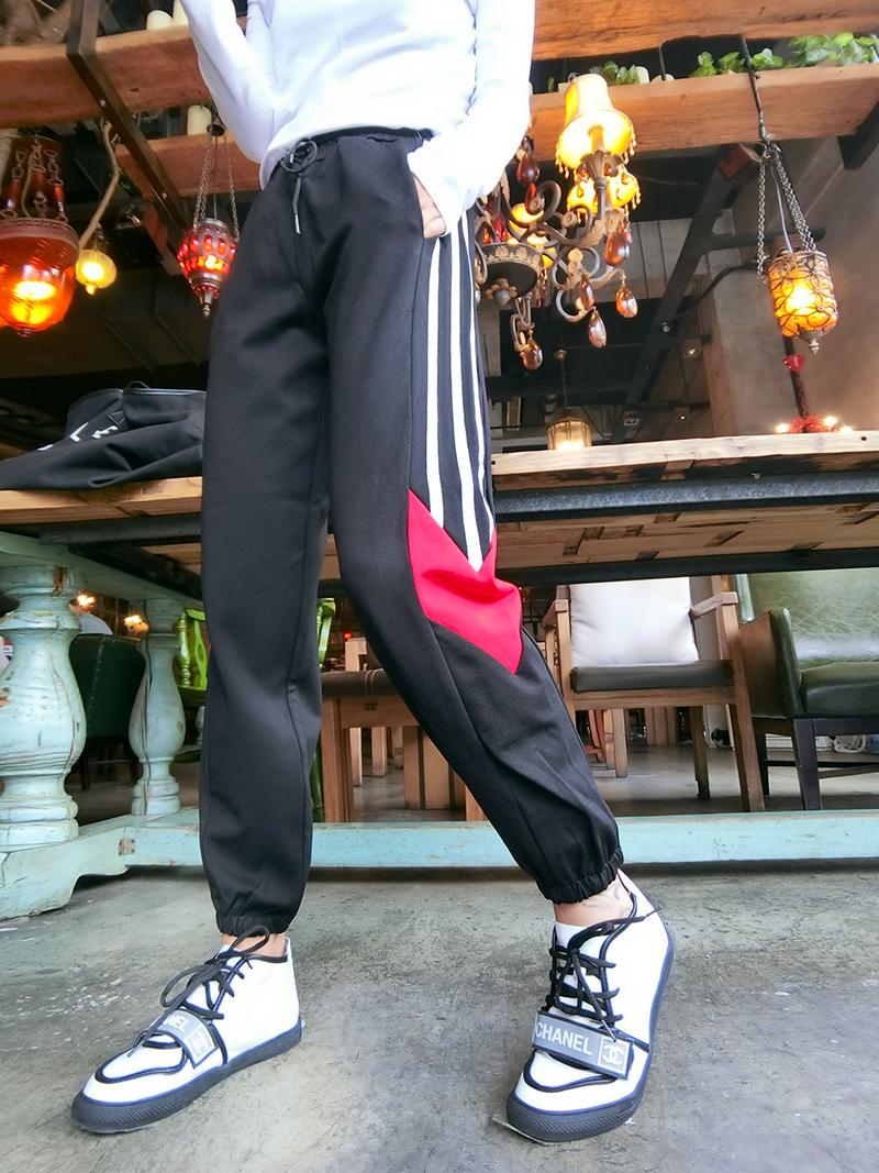 2018秋季新款韩版松紧腰长裤女裤罗马棉潮休闲裤运动裤撞色哈伦裤