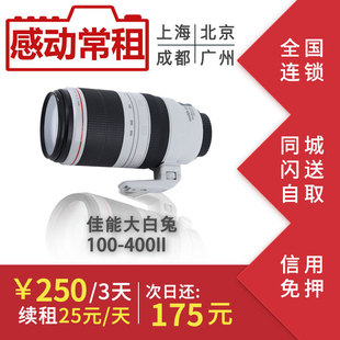 出租租赁单反镜头佳能100-400 mm IS II 大白二代 大白兔感动常租图片
