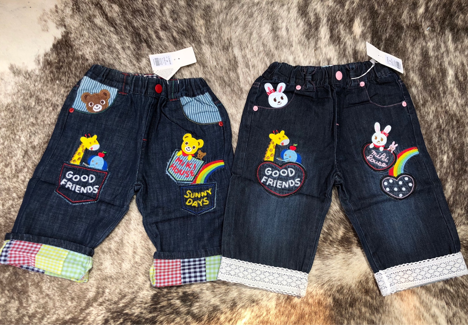 Boys and girls summer style Japanese bear Bunnys best friend rainbow embroidery and pasted cotton denim curled pants