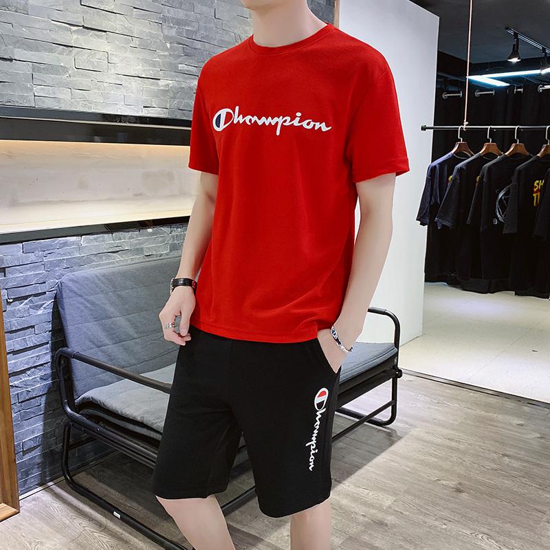 夏季男士短袖t恤套装韩版潮流休闲男装半袖运动装两件套青年