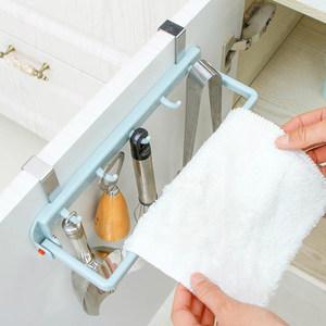 多功能挂架橱柜门背厨房毛巾架抹布架挂钩可折叠免打孔洗碗碗布架
