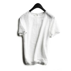 领10元券购买高端客户收 堪称艺术品万针刺绣 内里真丝短袖蕾丝衫上衣女夏新