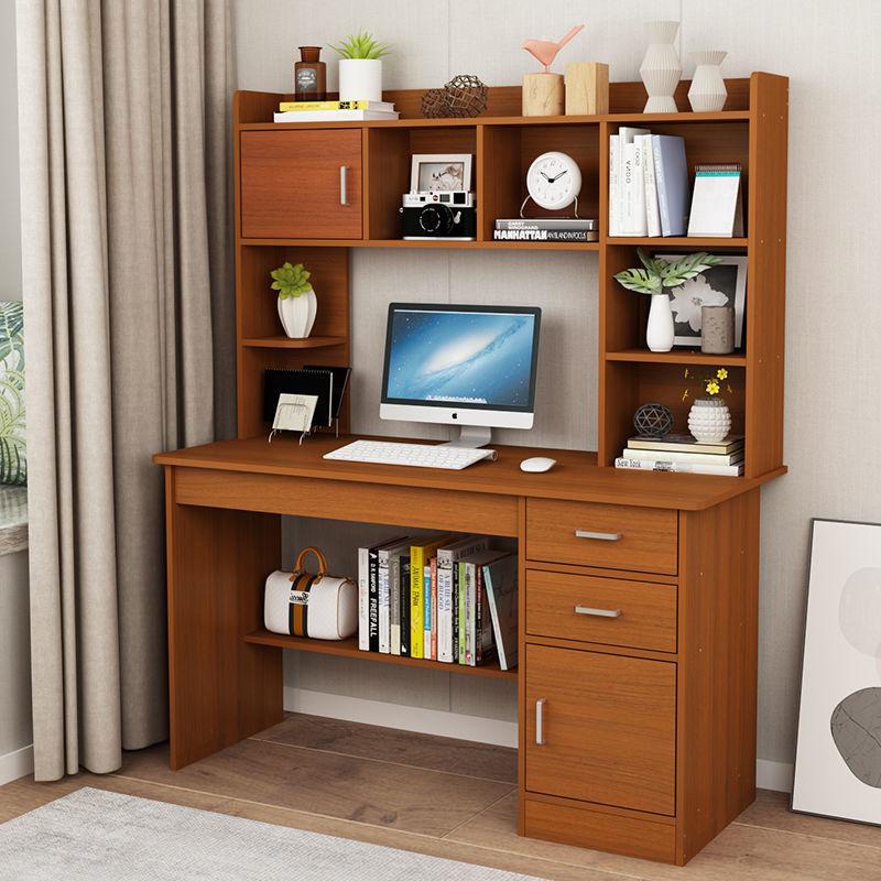 电脑桌台式家用书桌学生学习写字桌宿舍床边办公桌家用书架组合