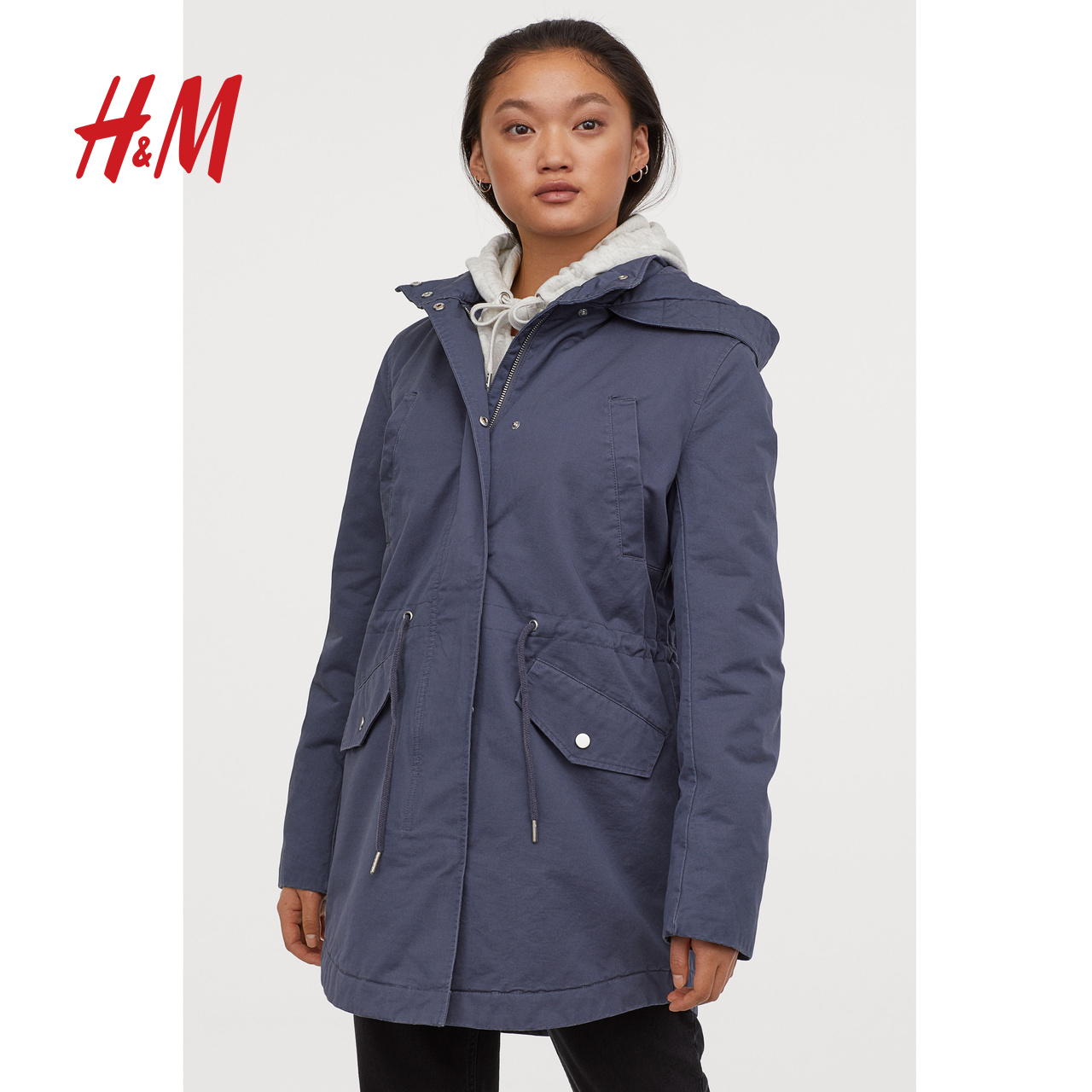HM DIVIDED女装棉衣棉服机能风秋冬款夹棉外套派克大衣 0742561