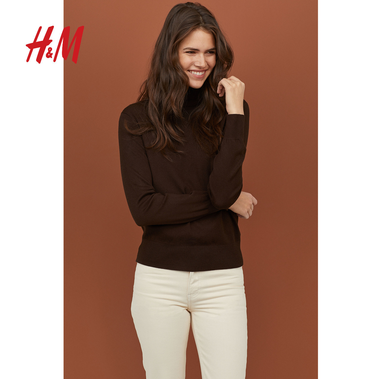 HM Women's Knitted Sweater Autumn Long Sleeve Pullover Sweater Knitted Bottom Shirt High Collar Pullover for Women 0673677