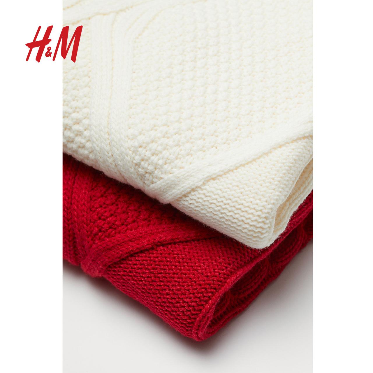 HM 女装针织上衣女宽松百搭2020新款短款毛衫长袖针织衫 0815574