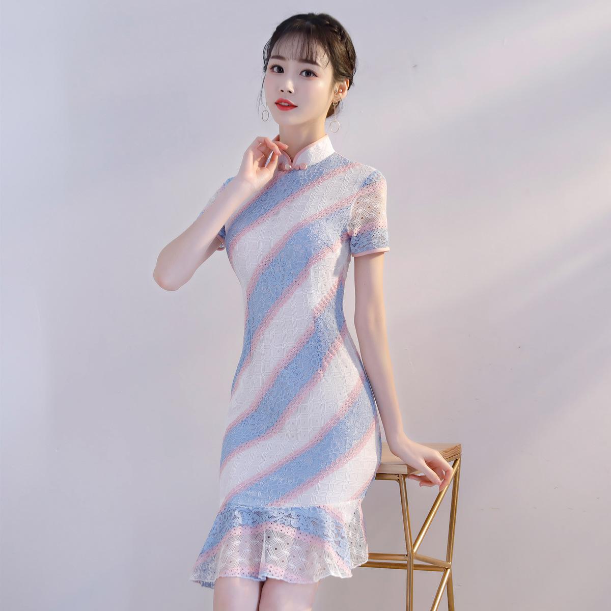 现代少女小旗袍学生改良版夏季2018新款短款小香风鱼尾宴会礼服裙