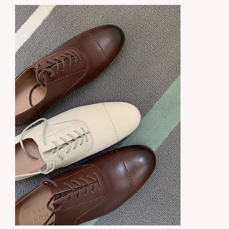 Foreign trade original MHL Oxford Shoes full leather versatile, breathable and non stuffy feet, coffee Beige lace up shoes for women