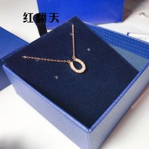 彩金U型马蹄项链女锁骨链玫瑰金镶钻水晶吊坠玫瑰金