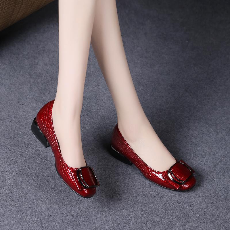 2021新款春夏季浅口单鞋女真皮软皮豆豆鞋平底红皮鞋春款女鞋瓢鞋