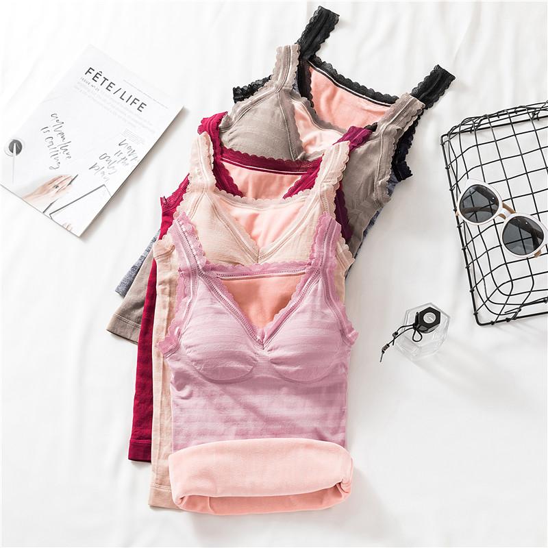 2020 new winter lace cold proof tight body no bra thermal vest women Plush suspender