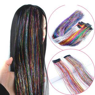 买一送一卡子彩色接发假发女金丝炫彩丝彩条闪光亮丝彩色头发彩带