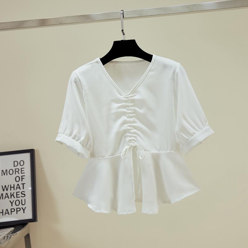 短袖雪纺衬衫女2019新款夏季薄短款气质胸前抽绳上衣v领防晒衬衣
