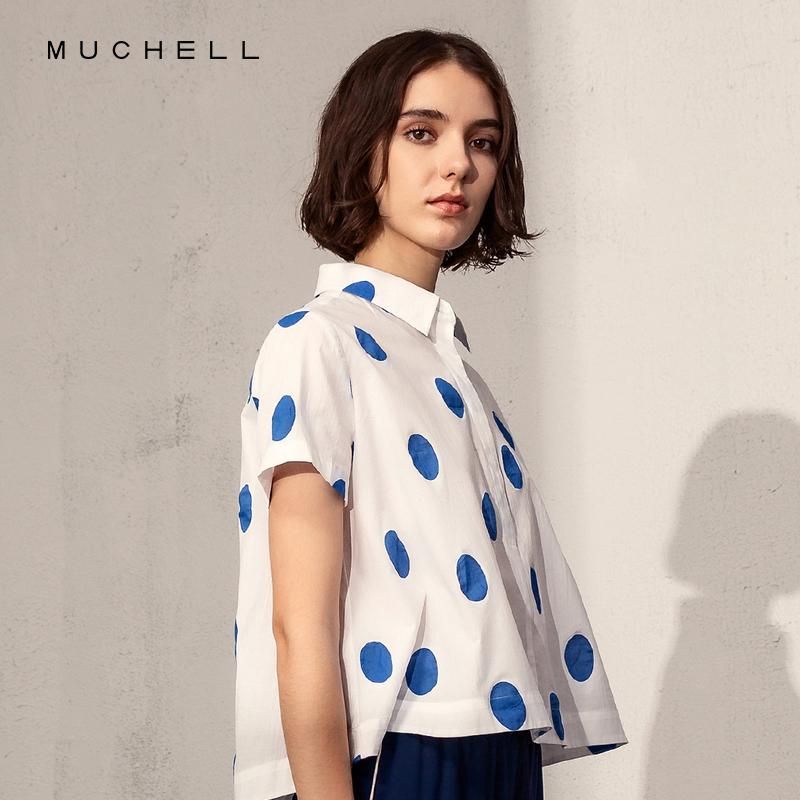 MUCHELL/目澈2019夏季新款休闲宽松撞色波点短袖衬衫女MDM2HD702