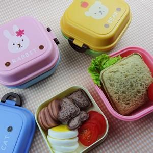 可爱小动物儿童点心盒迷你便当盒双层饭盒便携宝宝水果盒学生餐盒