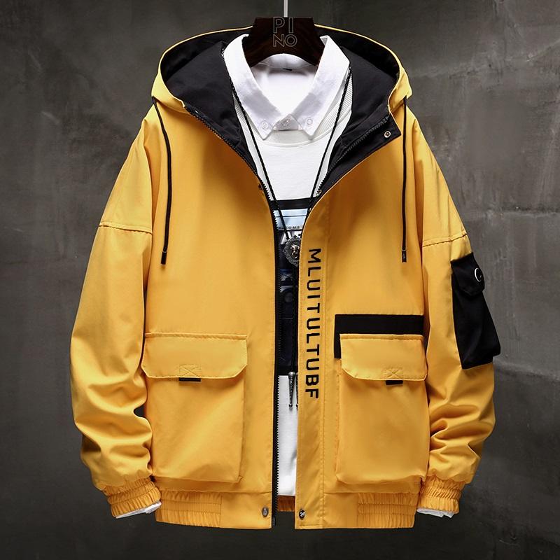 男士连帽夹克2020秋季新款百搭拼色长袖开衫青年潮流帅气宽松外套