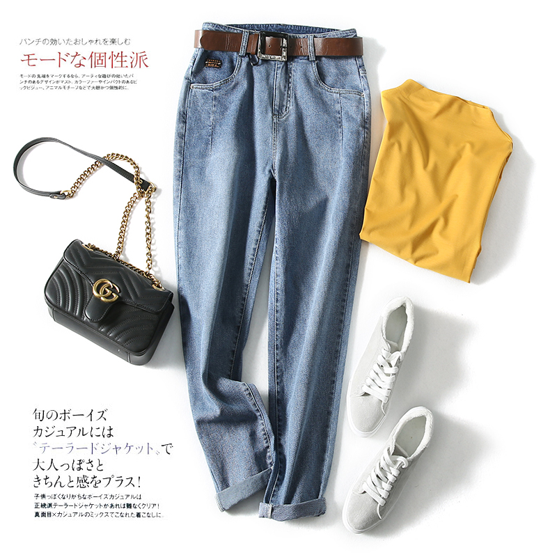European High Waisted dad radish pants new summer quarter jeans in 2019, womens flanging looks thin, loose and casual