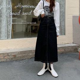 黑色牛仔半身裙女秋季高腰显瘦中长款裙子胖妹妹mm大码百搭a字裙