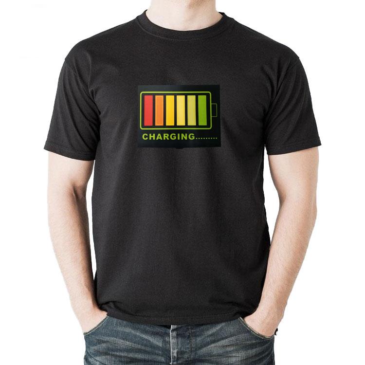 抖音同款电池说话会发光的衣服LED声控发光电音衣服 夜光