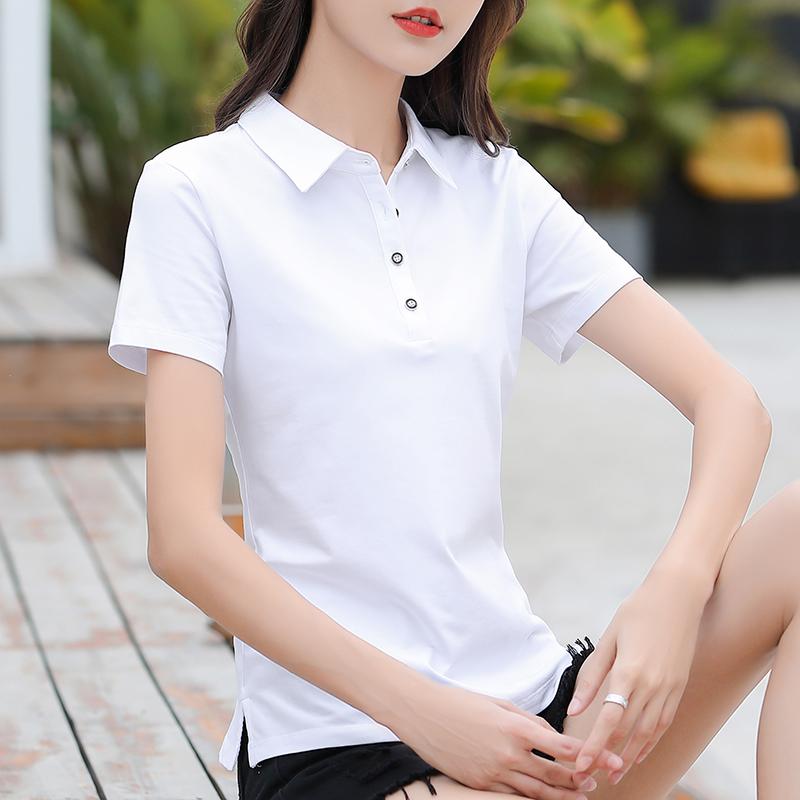 Collar short sleeve T-shirt womens sports leisure half sleeve polo shirt summer Lapel pure cotton white womens T-shirt customization