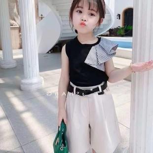 女童夏裝洋氣套裝2020新款潮流時尚韓版夏季4女寶寶小童3歲闊腿褲
