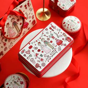 大号长方形圆红色喜糖马口铁盒子结婚婚庆回礼糖盒伴手礼盒喜烟盒