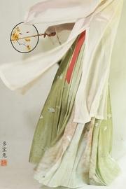 【多宝兔尾单现货】赵氏汉服春季明制褶裙女紫素纱马面裙半身裙