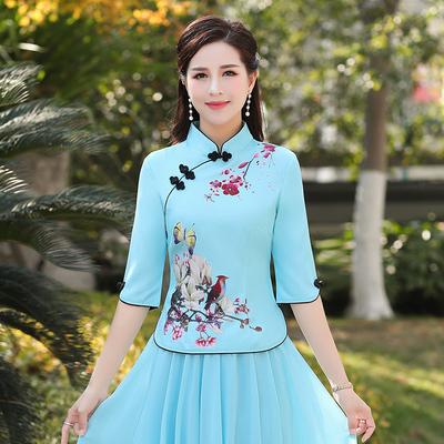 改良中国风套装女短袖民族唐装妈妈旗袍上衣汉服两件套裙民国女装