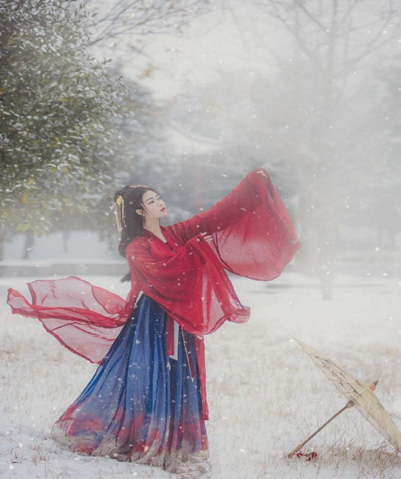 Autumn and winter Hanfu female Chinese style traditional costumes, chest-length skirts, Tang suits, heart-beat waistline