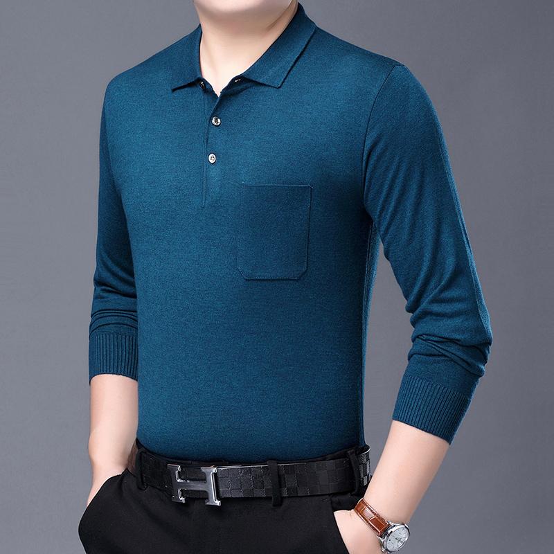 拓敦正品春秋新款商务长袖t恤 时尚有领打底衫男中老年体恤爸爸装