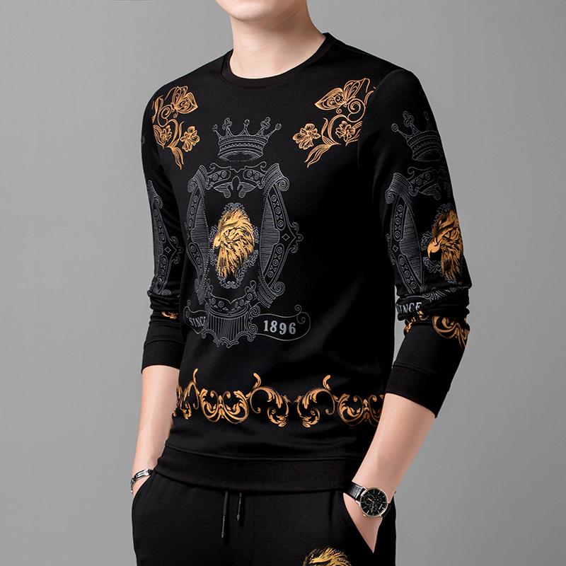 拓敦2020秋季新款T恤长袖时尚帅气学生舒适印花男士卫衣体恤上衣